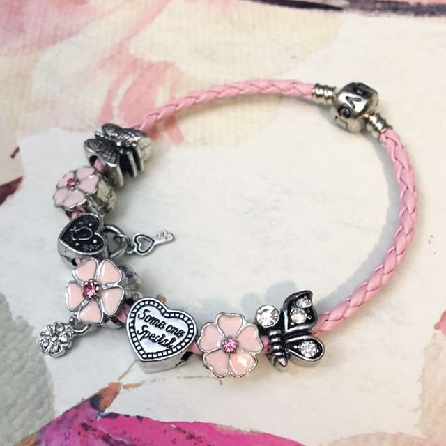 Pink Leather Bracelet with Floral Charms (Like Pandora Charms)