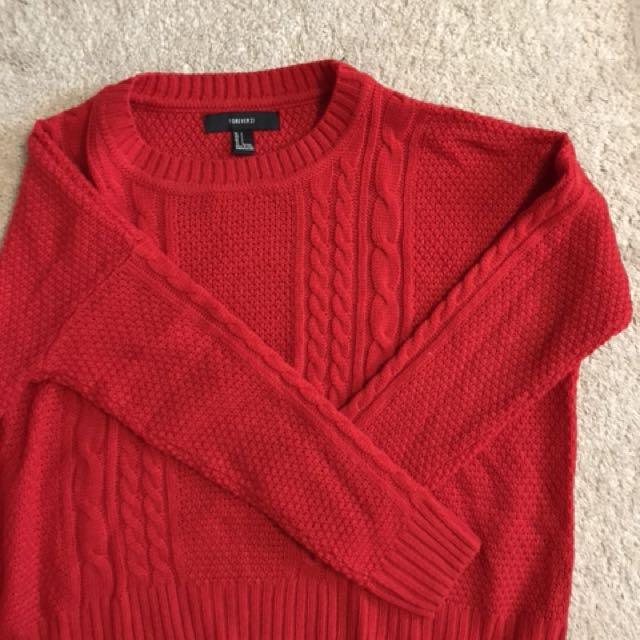 Red winter sweater - size S