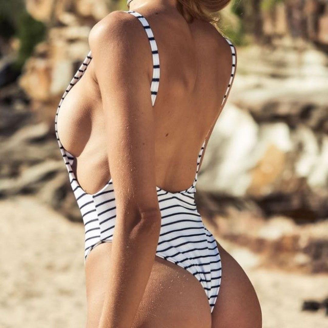 Reversible White > Stripey Full Piece Swimmer Body Suit