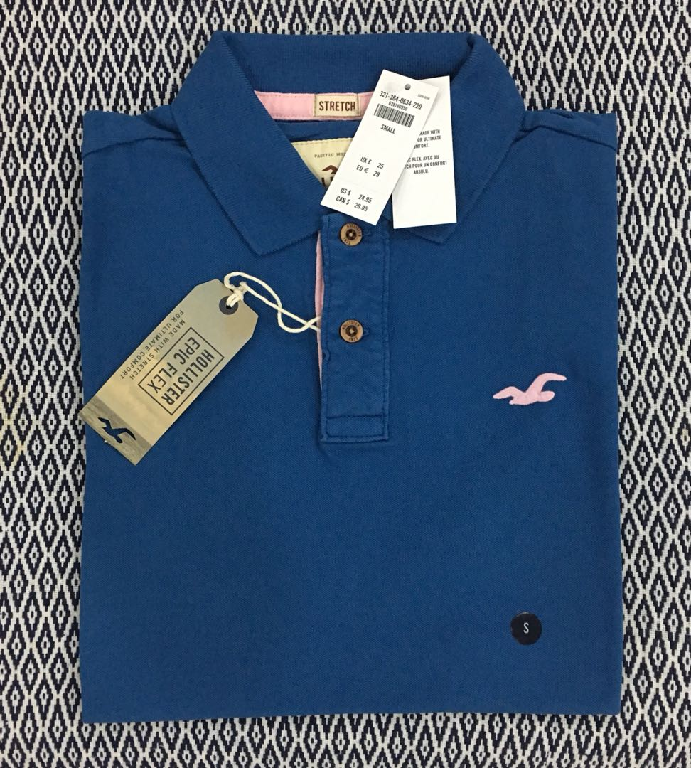 (S) Authentic Hollister Stretch Pique Icon Polo Tee