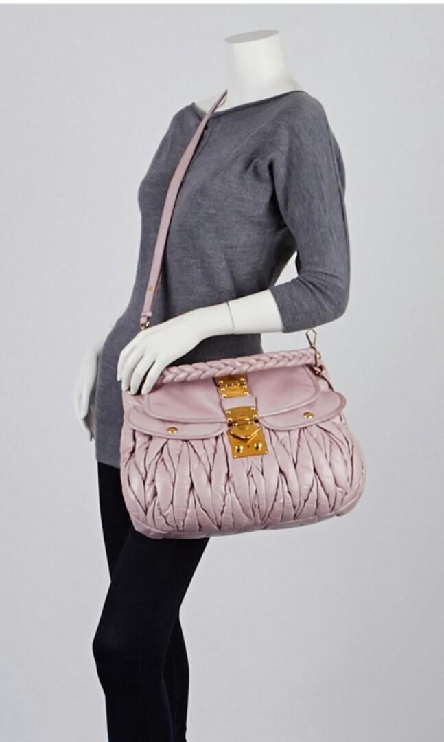 Sale!MIU MIU Mughetto Matelasse Lux Leather Coffer Bag