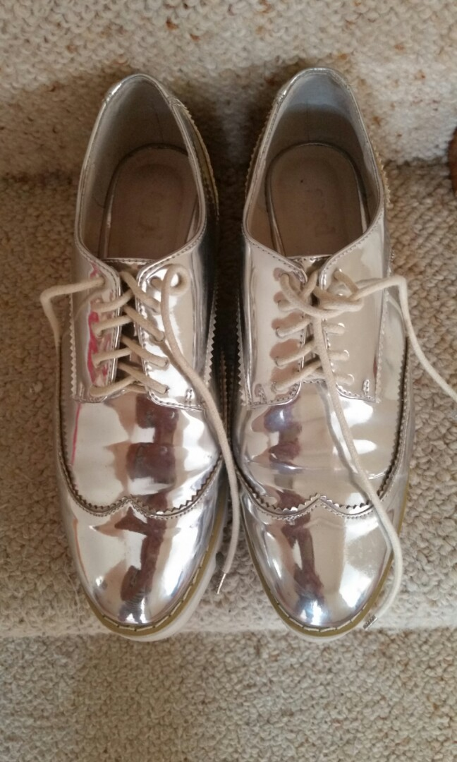 Seed Silver Lace Up Oxford Shoes Size 37