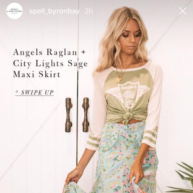 Spell Designs Angels Raglan Tee size XS BNWT