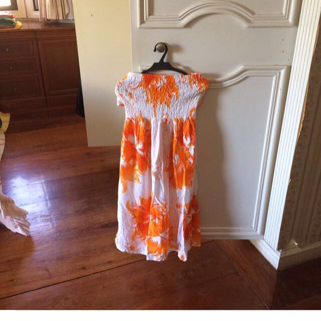 Summer Tube Orange Dress