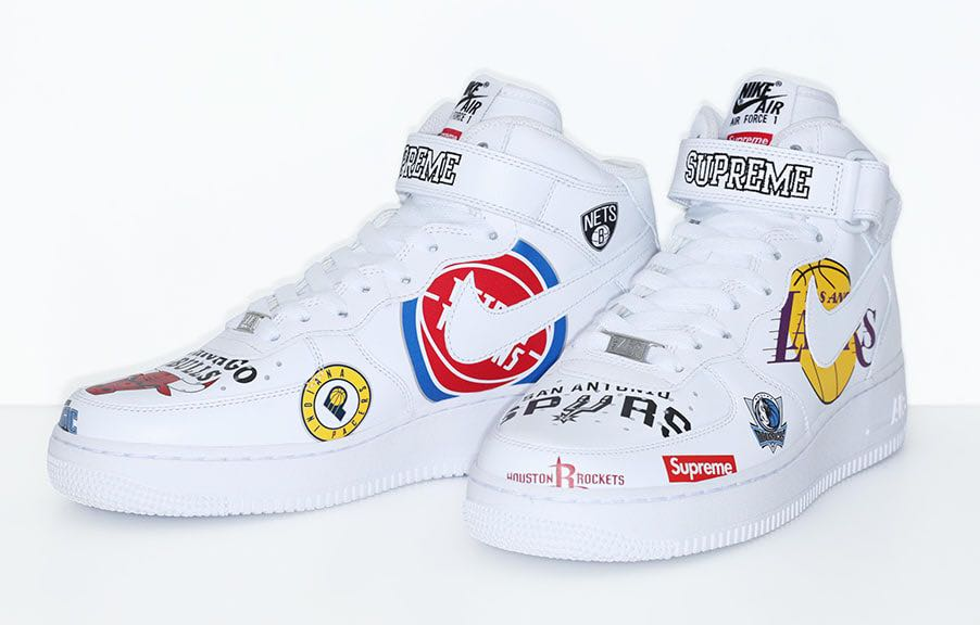 newest collection 759a0 f3784 Supreme x Nike x NBA white US8.5 Airforce 1 Mid SS18, Men's ...