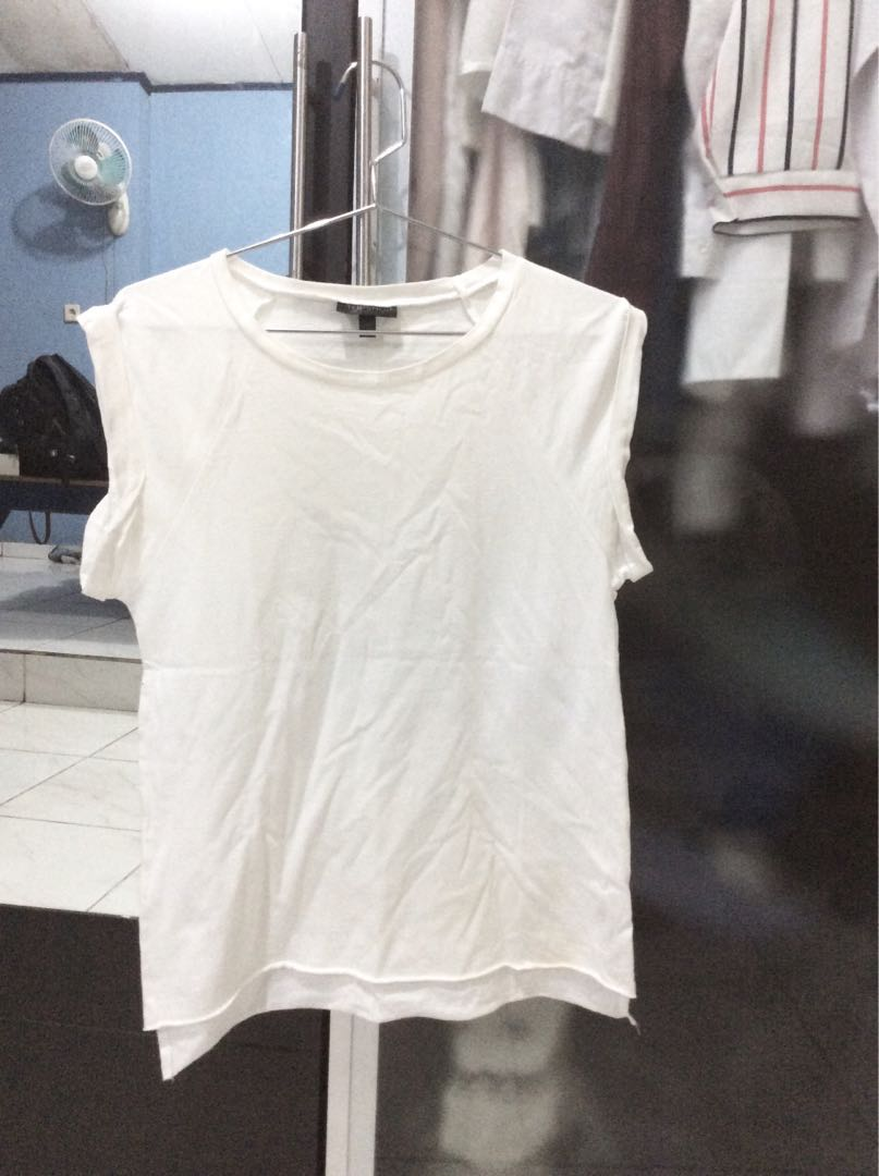Topshop white rolled sleeve shirt