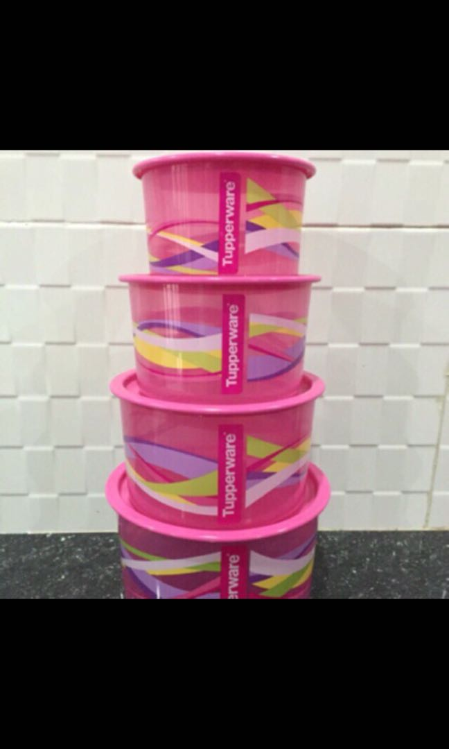 Tupperware one touch pink set