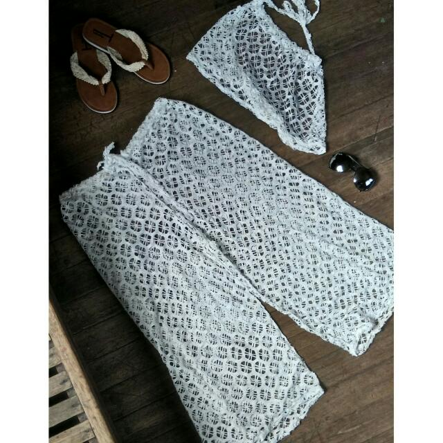 Two Piece White Cover Up - Pants And Halter Top
