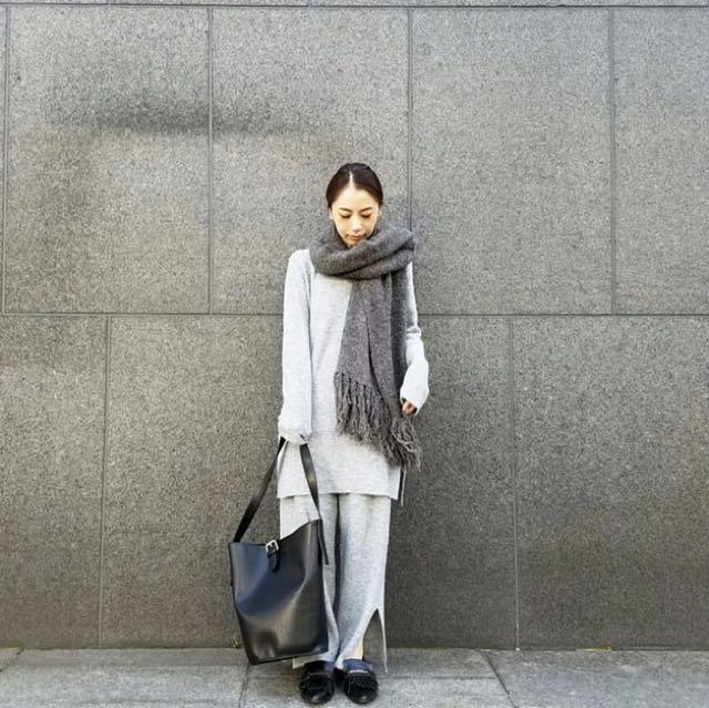 正品ungrid 實品圖 針織圍巾 黑灰色