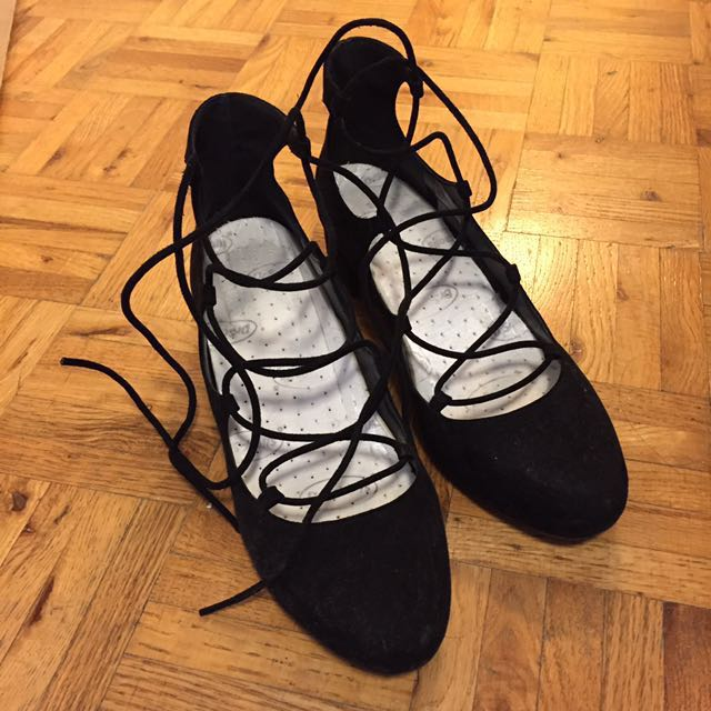 UO Black Suede Lace-UP Heels