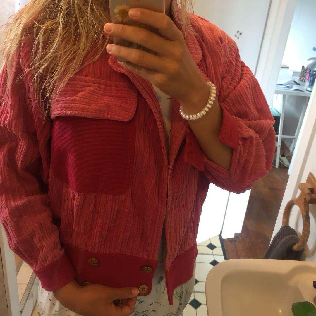 Vintage retro pink corduroy jacket