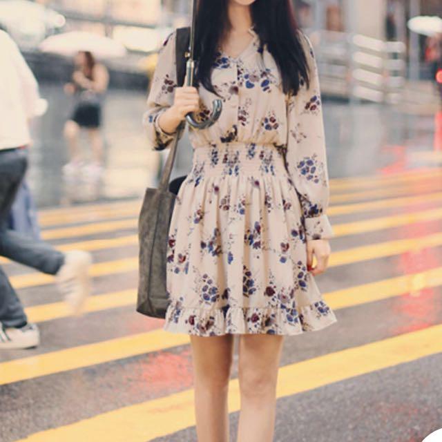 YESSTYLE Long-Sleeved Floral Print Chiffon Dress