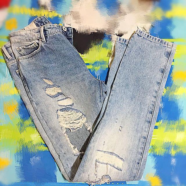 含運Zara亞洲限定版型,歐美頹廢時尚超破牛仔褲