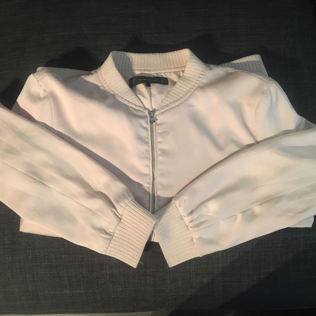 Zara Pink Bomber Jacket, Size M