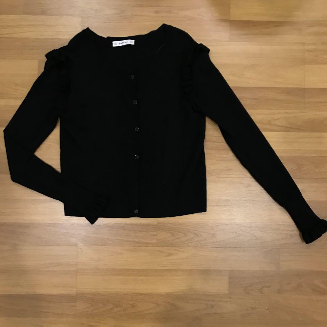 Zara ruffles black cardigan