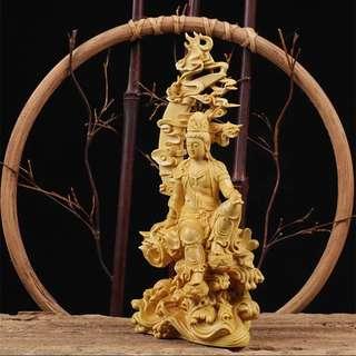 HUC201862- 黃楊木雕水月自坐觀世音佛像