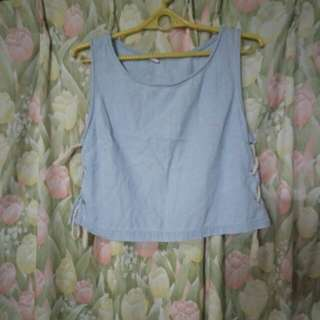 Repriced!! Soft Denim Crop Top with Sidestring