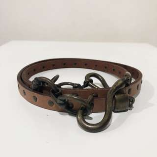 Stefanel Italy leather belt with brushed chain and studs