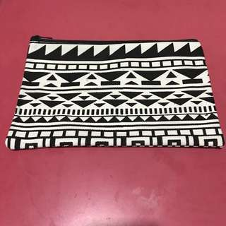 Fabric pouch with black and white tribal print
