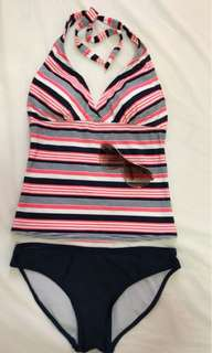 2 piece swimsuit with sunglasses