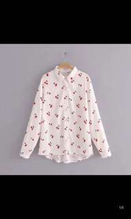 Europe and the United States new loose loose thin wild cherry print long-sleeved lapel shirt