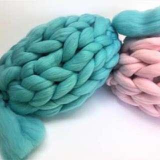 Chunky Knit Merino Wool Candy / Bolster