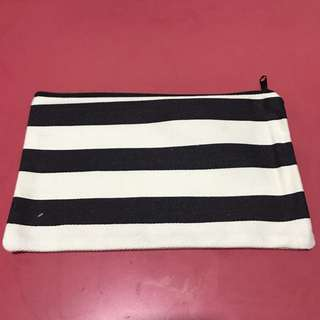 Fabric pouch with white and black large stripes
