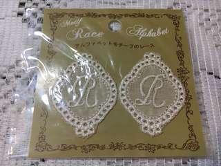 Vintage lace motif Alphabet R