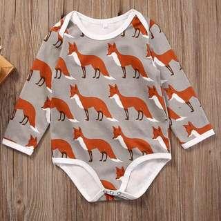 🦁Instock - fox romper, baby infant toddler girl boy children glad cute 123456789 lalalala