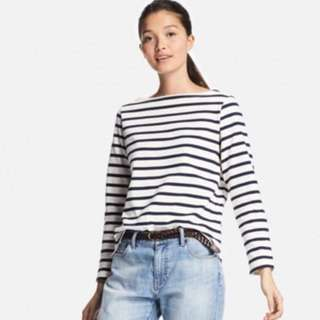 Uniqlo Women's Striped Boat Neck Top (Size M)