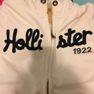 Hollister white zip up hoodie