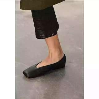 全牛皮方頭後幫鬆緊舒適平底鞋