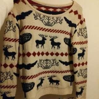卡其色聖誕鹿針織上衣