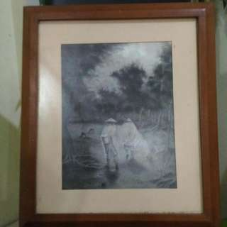 Lukisan Pencil Pigura Jati