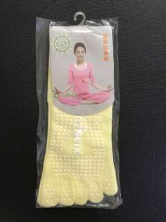 Women Antislip Finger Socks in Yellow for Yoga