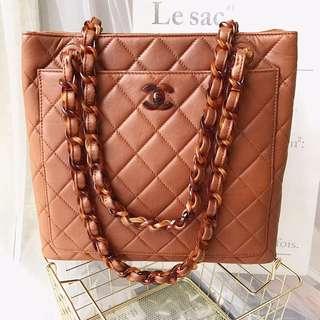 Chanel Vintage 駱駝色玳瑁羊皮 Tote Bag