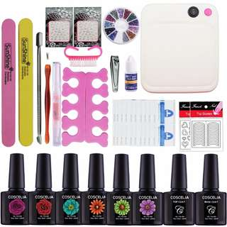 Manicure Set 36W UV Lamp Set For Gel Nail Polish 6 Colors Set For Manicure Top and Base Nail Extension Set