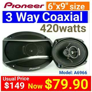 "[Brand New] Pioneer 6"" x 9"" 420 Watts 3 Way Oval Shape Deeper Bass Speaker . Model: TS-A6966S  (Brand new in box & sealed) . Usual Price:$ 129.90  Special Price:$ 79.90"