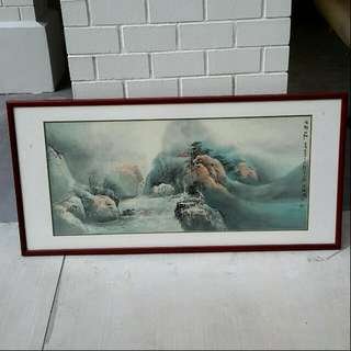 Chinese Painting Mountain Scenery In Frame (Huge Size)