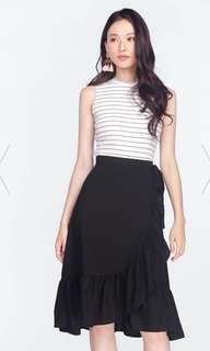 Dalena Ruffle Midi Skirt (Black)