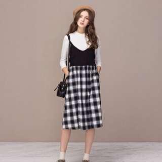 Pazzo 黑白格紋氣質長裙