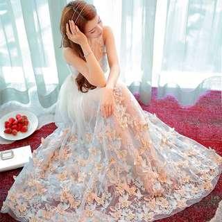 ✨仙氣升級✨💃🏽 立體刺绣蝴蝶绣花透明紗連衣裙