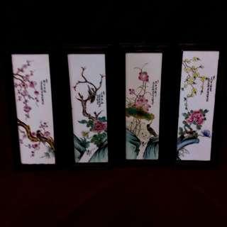 春夏秋冬四季粉彩瓷板画 - 名画家刘雨岑作