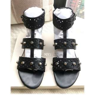 Jimmy Choo leather studs flat sandals shoes @Size 36-1/2