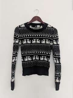 H&M kitten pattern sweater sz 8