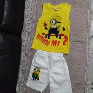 Boy minion shirt and pants set