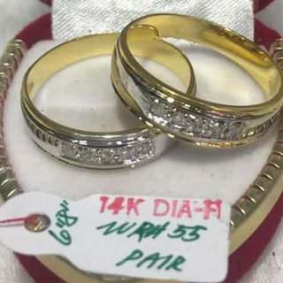 14K HK Diamond Wedding rings