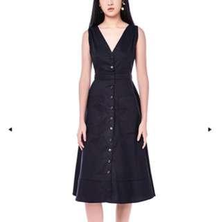 Jennie Open Back Midi Black Dress