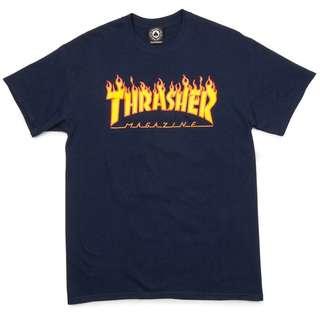 THRASHER FLAME NAVY TEE ORIGINAL 100% / BAJU THRASHER