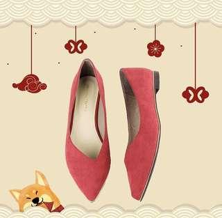 Oriental traffic紅色平底鞋